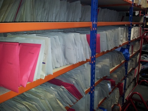 Envelopes containing lost mobile phones in the Lost Property Office