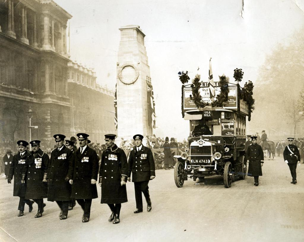 LGOC veterans march with 'Ole Bill in the Armistice day parade of 1923