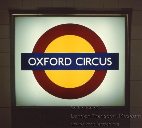 Experimental tube roundel at Oxford Circus on the Victoria Line, 1972.