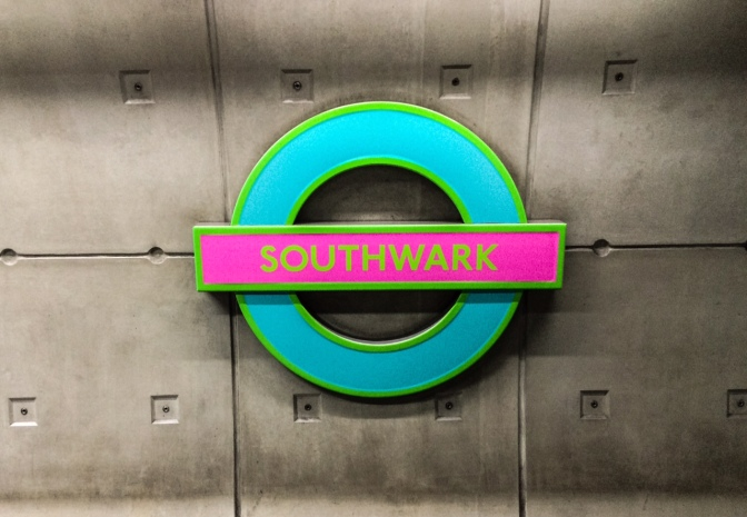 Southwark Tube Roundel on Friday 17th June 2016. (Photo by Tim Dunn)