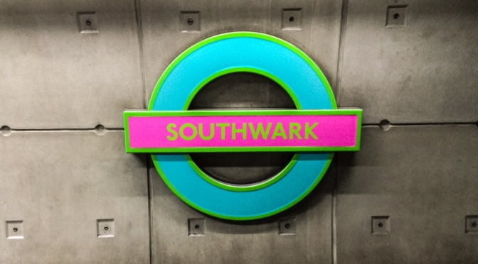 Neon tube roundels at Southwark