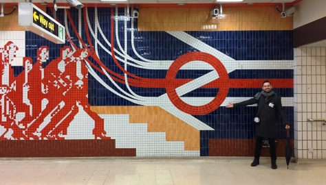 Me (Tim Dunn) by Badry Mostafa's mosaic, at the old King's Cross Thameslink entrance, surely one of the finest depictions of British Rail and London Transport integration ever completed. Note the huge torch slung around me - we'd needed these in several darkened corridors!