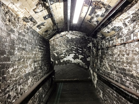 Another view if the fire-damaged tunnels dating from the awful King's Cross fire of November 1987.