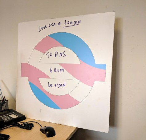 Trans pride roundel, in the curators' offices at London Transport Museum, 20th August 2018, photo © London Transport Museum