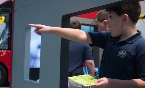 A pupil pointing in the All Aboard play zone
