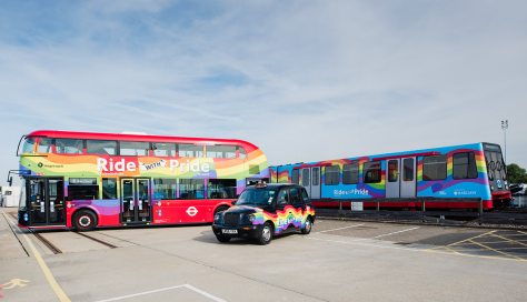 London Transport vehicles with rainbow flags