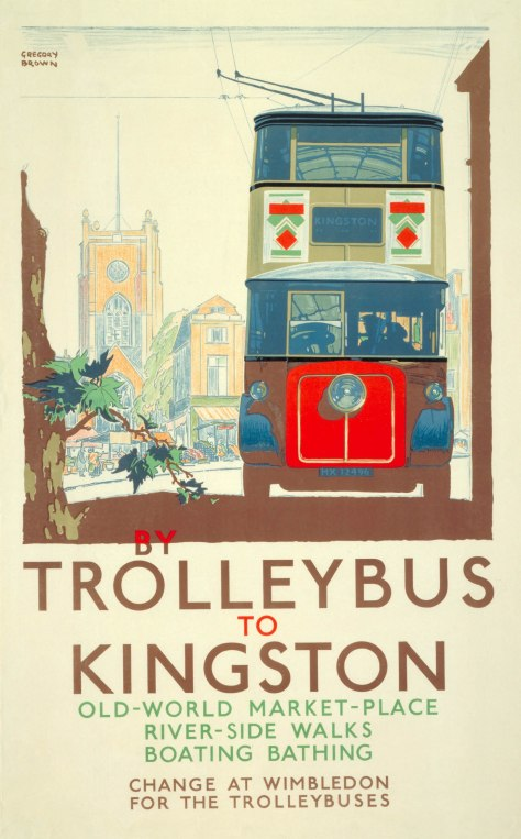 Poster showing the drawing of blue and red trolley bus