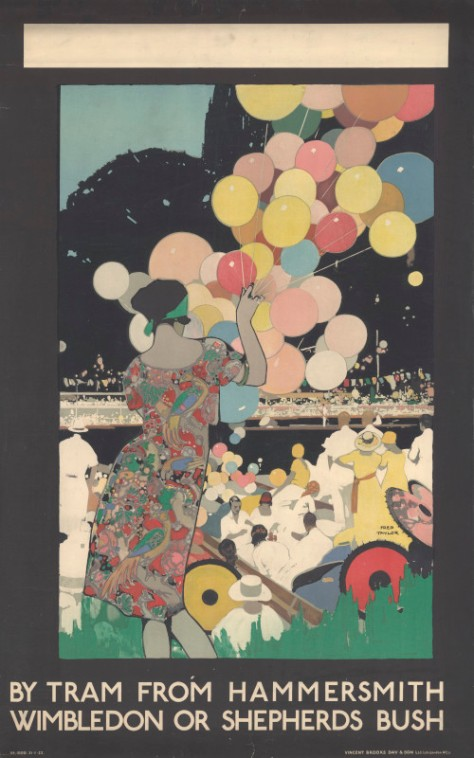 Drawing of a woman holding coloured balloons at a regatta along the river