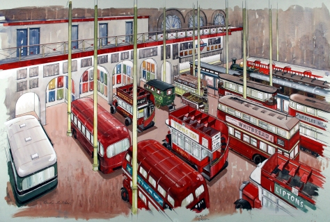 Watercolour darwing of the museum showing the collection of red buses and trolleys