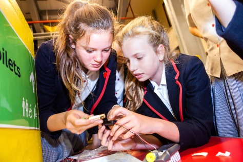 Two female pupils working together during an Inspire Engineering session