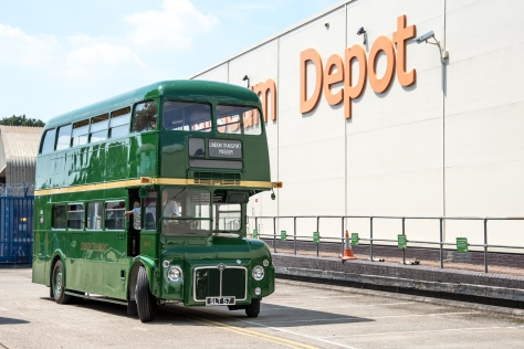 Green Routemaster bus outside Museum Depot